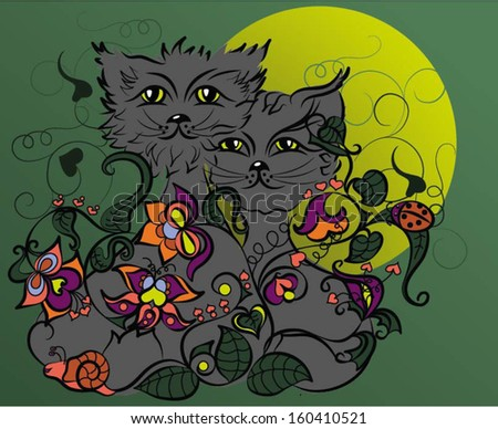 Chernyye silhouettes of cats in a moonlight night. Vector illustration with exotic plants.