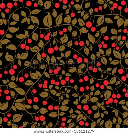 Cherries Branches with Fruits Pattern. Copy that square to the side and you'll get seamlessly tiling pattern which gives the resulting image the ability to be repeated or tiled without visible seams. - stock vector