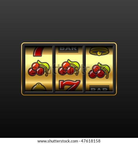 Cherries on slot machine. Vector. - stock vector