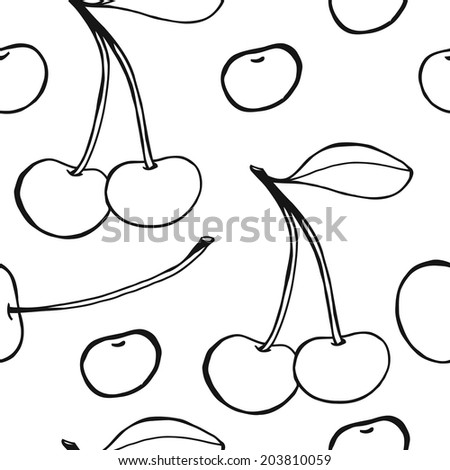 Cherries - seamless vector pattern, sketchy black and white hand drawn illustration