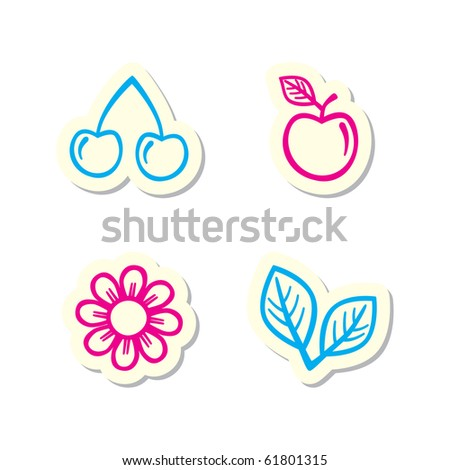 Cherry, Apple, Flower, Leaf Icons - stock vector