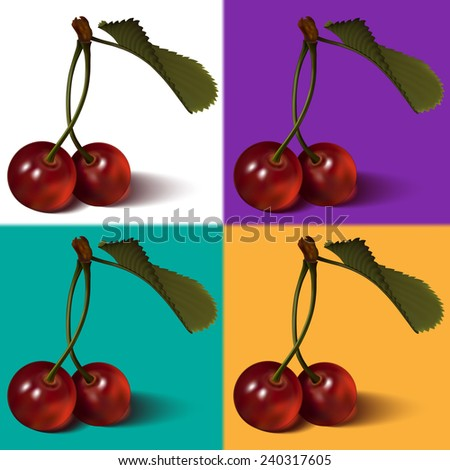 Cherry berries with leaf. Vector. Looks fine on any backgrounds. - stock vector