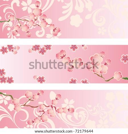 Cherry blossom banner set. Illustration vector. - stock vector