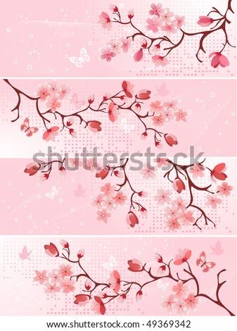 Cherry blossom, banner. Vector illustration - stock vector