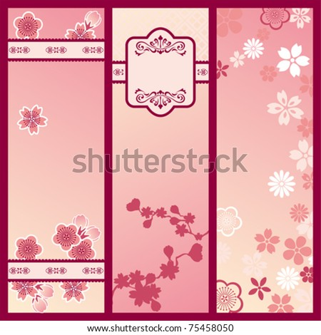 Cherry blossom banners. Illustration vector. - stock vector