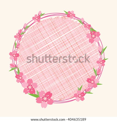 Cherry blossom branch flower on circle background - stock vector