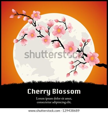 Cherry Blossom branch in front of the Moon Orange. Vector - stock vector