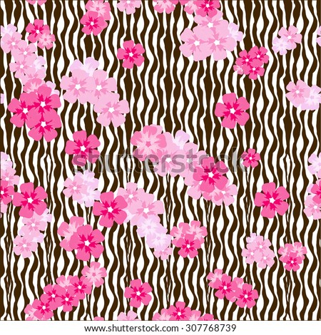 Cherry blossom flower bunches on zebra stripes