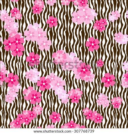 Cherry blossom flower bunches on zebra stripes - stock vector