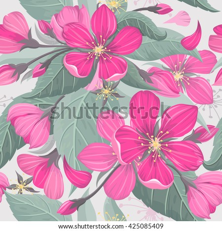 Cherry blossom flower seamless background pattern. Vector illustration.