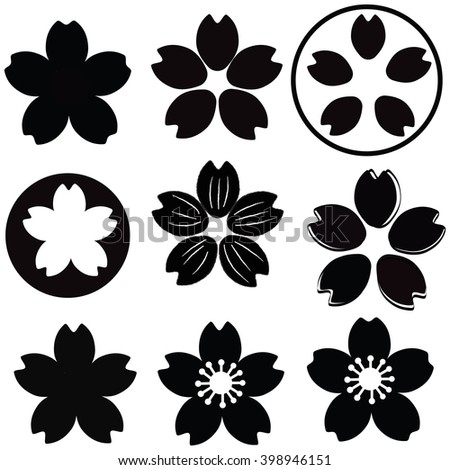 Cherry Blossom Flower Silhouette Set Vector Stock Vector ...