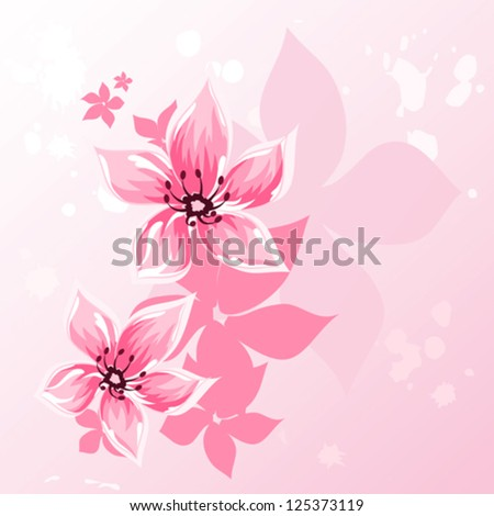 Cherry blossom greeting background, vector illustration