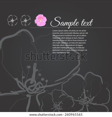 cherry blossom illustration on black background - stock vector