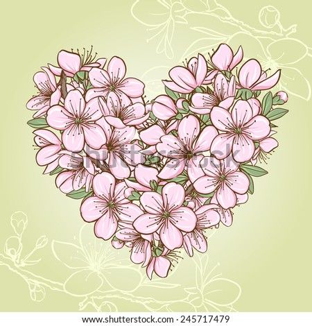 Cherry blossom in the shape of heart. Decorative floral illustration of sakura flowers - stock vector