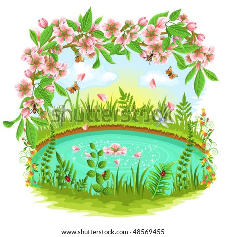 cherry blossom in the spring - stock vector