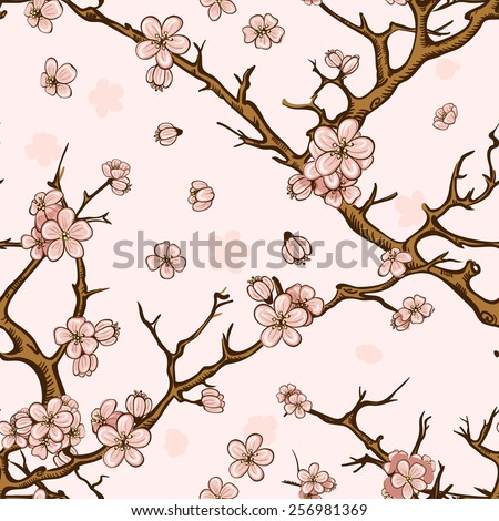 cherry blossom or sakura seamless pattern background - stock vector