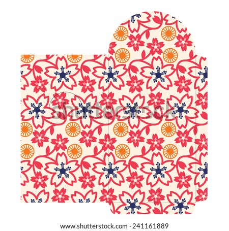 cherry blossom red packet template/vector - stock vector