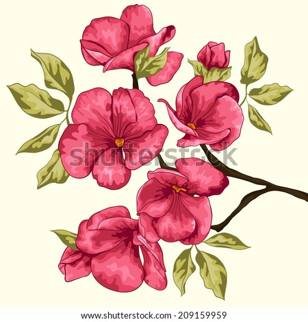 Cherry blossom. Sakura flowers. Floral background. Spring floral background. Flowering tree. Branch with pink flowers. Invitation  card. Vector illustration. - stock vector