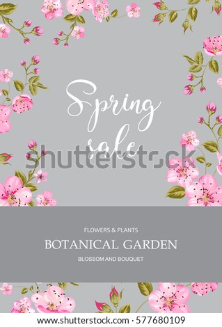 Cherry blossom sale card spring sale stock illustration for Botanical garden timing