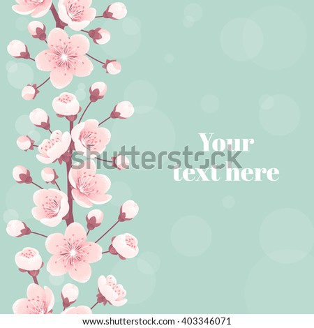 Cherry blossom seamless stripe, spring flowers. Retro vector illustration. Place for your text. Design for invitation, banner, card, poster, flyer