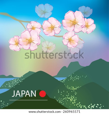Cherry blossom tree on spring background with mountains - stock vector