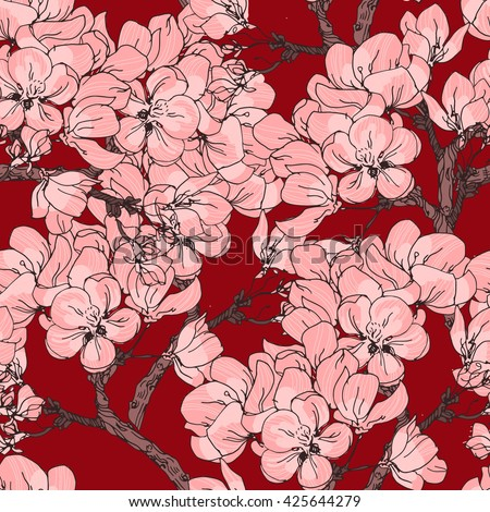 Cherry blossom vector background illustration. Seamless flowers pattern with sakura blooming. Can be used for print, fabric, wrapping, scrap booking - stock vector