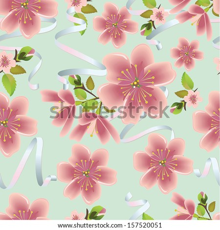 Cherry blossom vector background with ribbons. (Seamless flowers and leaves pattern) - stock vector