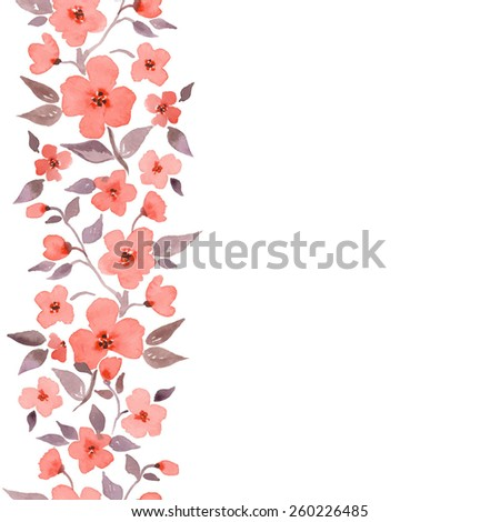 Cherry blossom. Watercolor seamless border in vector 2