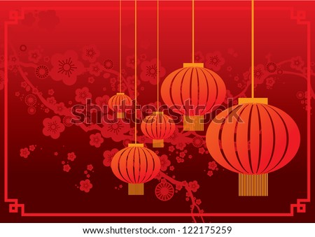 cherry blossom with chinese lantern chinese lunar new year template vector/illustration