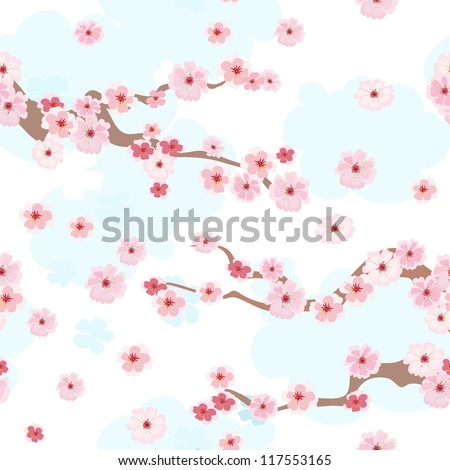 cherry blossoms background seamless - stock vector