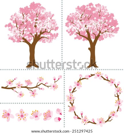Cherry Blossoms for Design Elements - stock vector