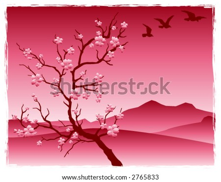 cherry blossoms in asian inspired landscape - stock vector