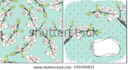 Cherry branch in blossom. Set of two vector backgrounds. - stock vector