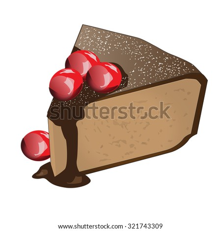 Cherry cake with  chocolate and bit of the almond nut, Vector Illustration - stock vector
