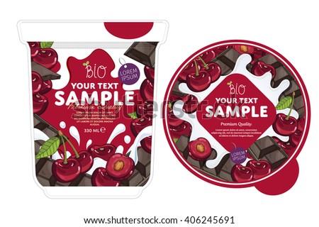 Cherry chocolate Yogurt. Yogurt Splash on Cherry chocolate. Milk Splash. Milk, yogurt or cream blot, drop. Cherry chocolate Yogurt Packaging Design Template. Yogurt pot design template. - stock vector