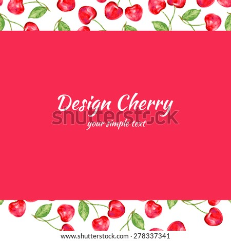 cherry collection. Paper label and seamless patterns. Perfect for wallpaper, wrapping paper, textile, cosmetics and package design. - stock vector