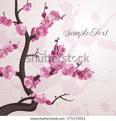 Cherry flowers. Card with spring blossom. EPS 10 vector illustration. All flowers are available under the clipping mask.