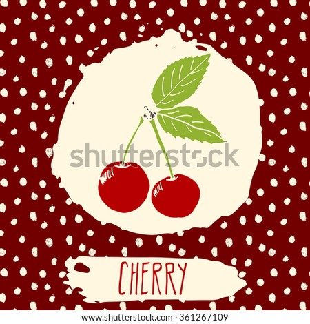 Cherry hand drawn sketched fruit with leaf on background with dots pattern. Doodle vector cherry for logo, label, brand identity. - stock vector
