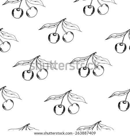 cherry in doodle style. Vector Baby Background In Doodle Style - stock vector