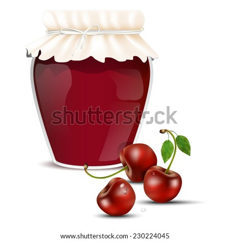 Cherry marmalade in a jar and fresh dewy cherries - isolated on white background. Vector illustration. - stock vector