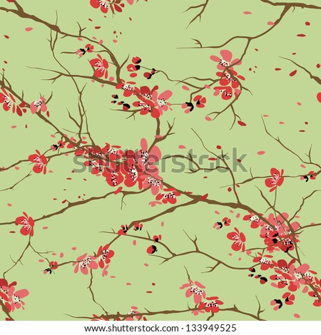 cherry or sakura seamless pattern background - stock vector