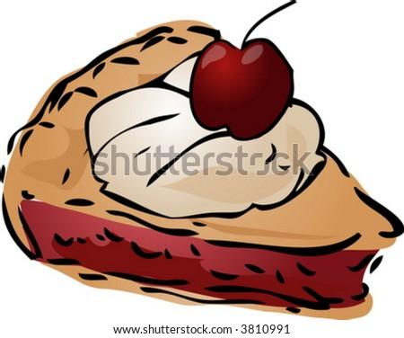 Cherry Pie ala mode, hand drawn retro illustration - stock vector