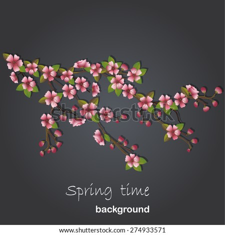 Cherry tree background - stock vector