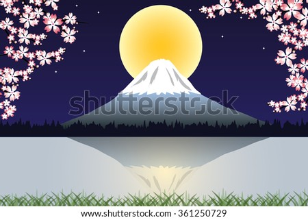 Cherry tree blossoms against a blue night sky. Snow capped Mount Fuji is on the background - stock vector