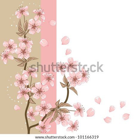 Cherry Tree (Card with stylized vector blossom) - stock vector