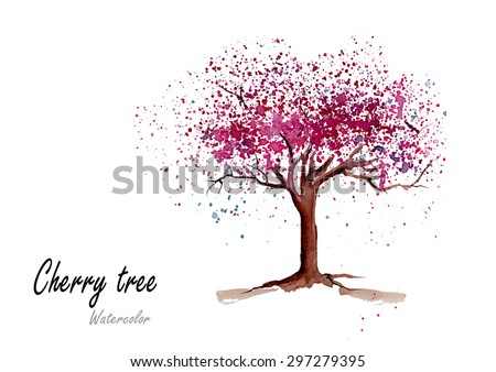 Cherry tree.Hand drawn watercolor painting on white background.Vector illustration - stock vector