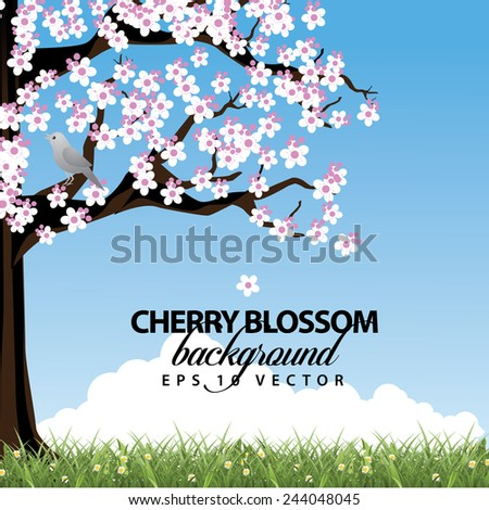 Cherry tree in spring background EPS 10 vector stock illustration - stock vector