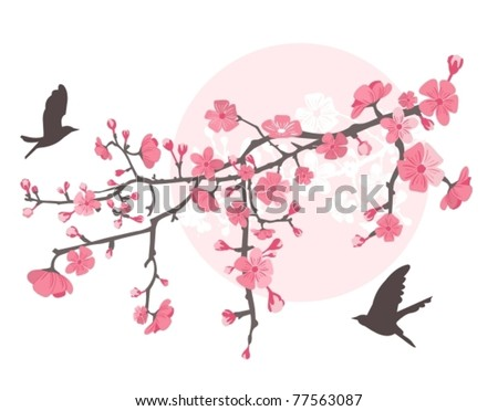 Cherry tree with flower and birds.