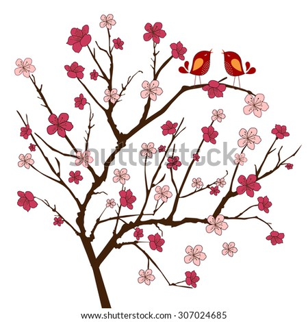 Cherry tree with two whimsical  songbirds (use with or without(  - stock vector