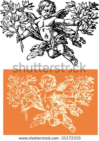 cherub with sprig - stock vector